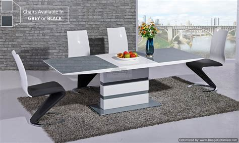 Arctic Grey Glass Top And White Gloss Extending Dining Extending Glass Dining Table And Chairs