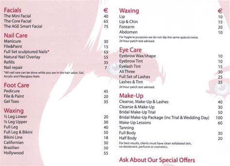 salon price list template the world s catalog of ideas