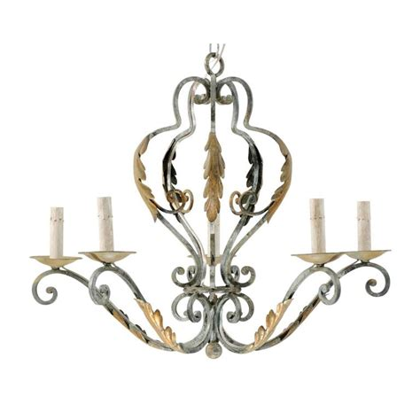 Acanthus Leaf Chandelier Five Light Painted Iron Chandelier Featuring Lovely Acanthus Leaf Motifs For Sale At 1stdibs