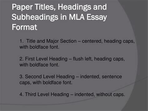which main section does the heading declared major fall under ppt mla essay format powerpoint presentation id 7263240