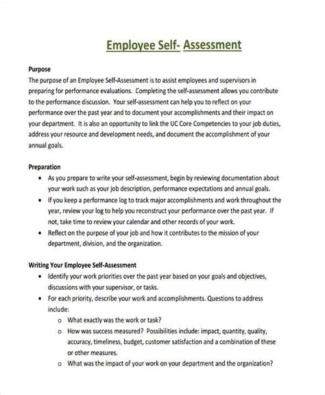 self assessment templates employees employee self evaluation exles the seven reasons