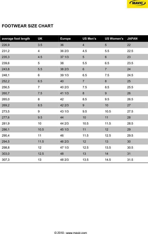 shoe size chart download shoe size chart download free premium templates forms