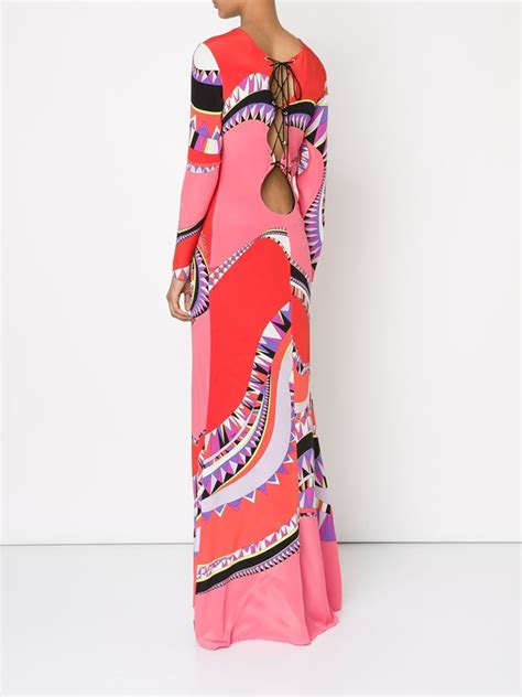Emilio Pucci Roscone Print T Back Top It Or It by Lyst Emilio Pucci Lace Up Back Geometric Print Gown In Pink