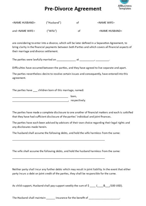 pre divorce agreement templates  allbusinesstemplatescom