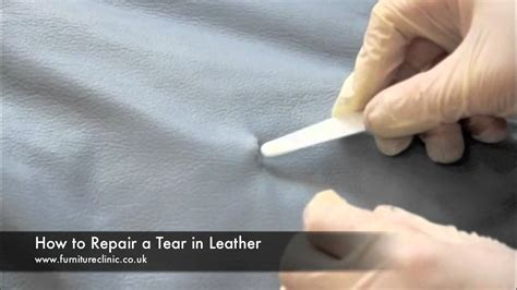 how to repair a rip in a leather couch repairing a tear in leather youtube