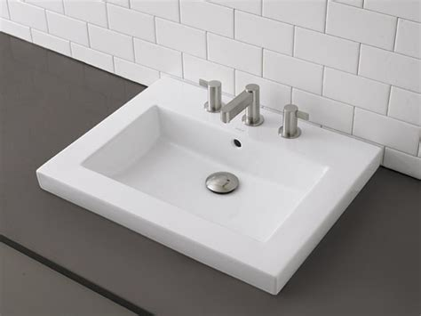 installing a drop in bathroom sink decolav rectangular semi recessed vitreous china lavatory