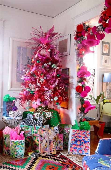 pink and white xmas tree skirt eclectic home tour at elko