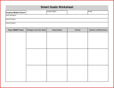 smart goal setting template smart goal setting worksheet template wiildcreative