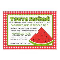 summer picnic 5 quot x 7 quot invitation card zazzle