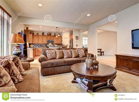 typical room typical living room in american home with carpet and