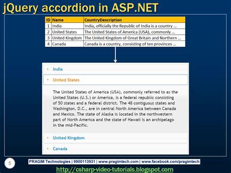 tutorial asp net c sharp sql server net and c video tutorial jquery accordion