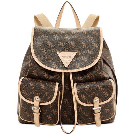 Elizabeth Bag Nangi Backpack Brown lyst guess confidential logo backpack in brown