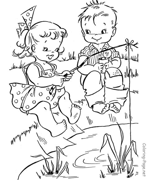 summer coloring book pages fishing fun
