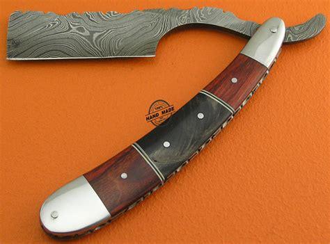 knife razor damascus folding razor knife custom handmade damascus steel