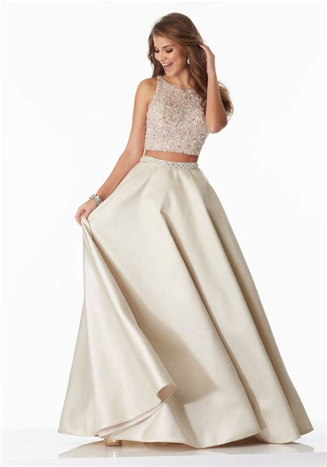 size  champagne morilee  satin pc prom dress