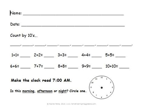 Morning Worksheets by Student Desk Remembering Maggie