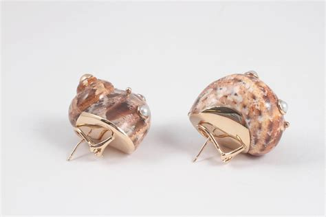 mazza pearl gold shell earrings at 1stdibs