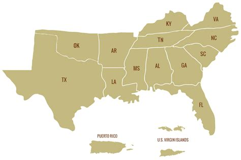map of southern states sgsf