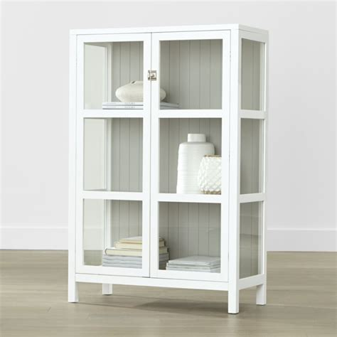 glass front storage cabinet kraal white cabinet crate and barrel