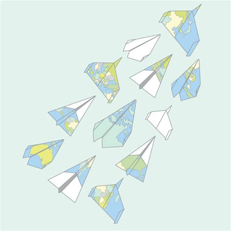 Map Origami Paper - aerodynamic world origami paper planes atlas map by