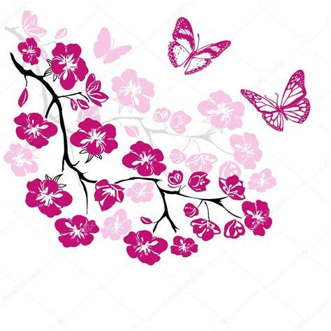 fiori di ciliegio e farfalle farfalle e fiori di ciliegio ramoscello vettoriali stock