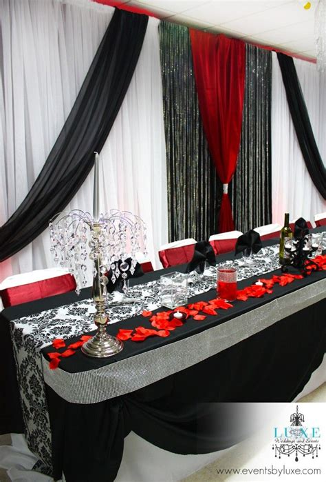 red black white and damask wedding decor in london