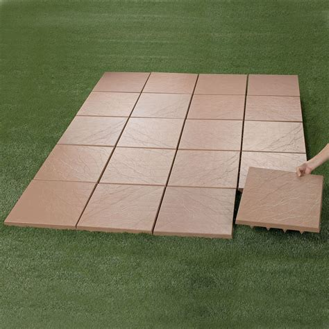 outdoor patio tile create an instant patio on any grass dirt or sand surface