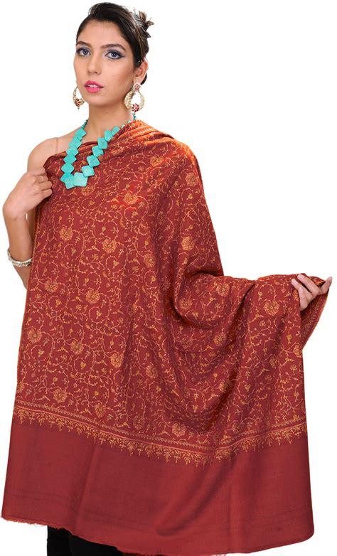 Pashmina Xhm207 Pashmina Exclusive Wool burnt orange pashmina shawl with sozni embroidered flowers all