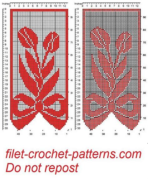 free filet crochet curtain patterns curtain with bow and tulips filet patten free filet