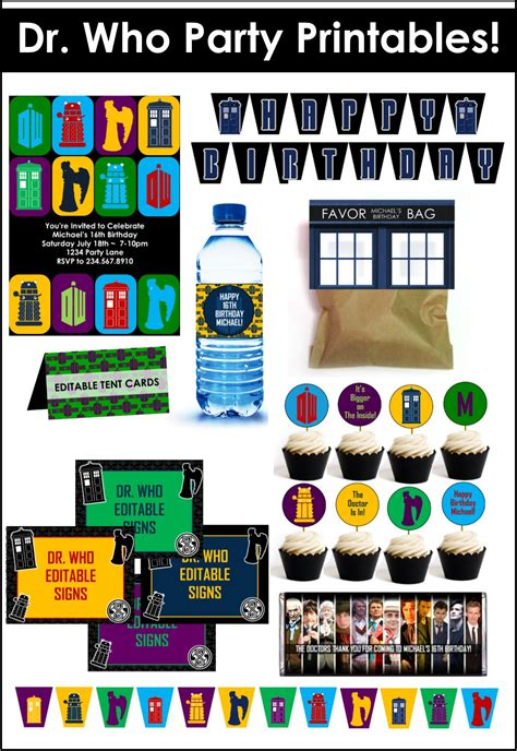 printable birthday cards dr who doctor who party game ideas