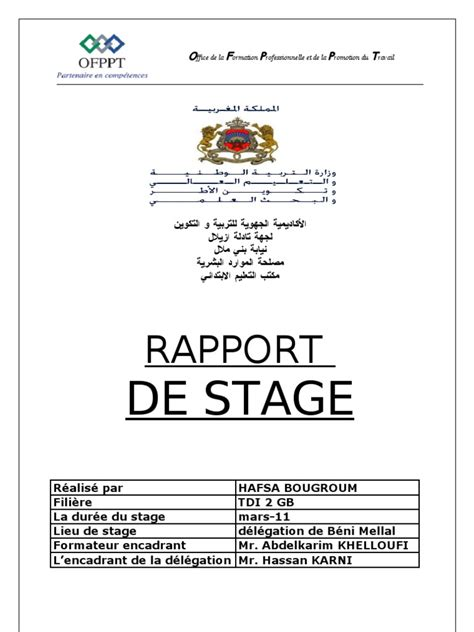 Rapport De Stage Cabinet Médical by Exemple Rapport De Stage Formateur Document