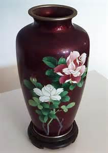 japanese cloisonne vase vintage antique floral design