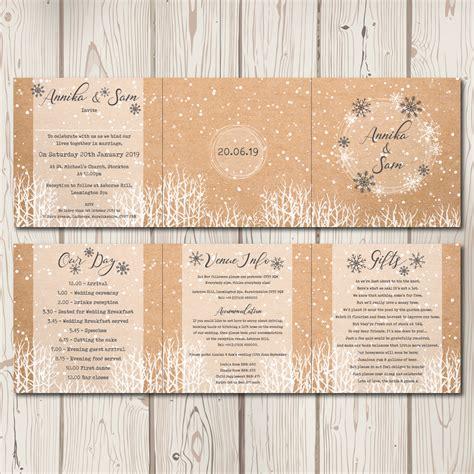 3 fold wedding invitations winter trifold wedding invitations bluebird wedding