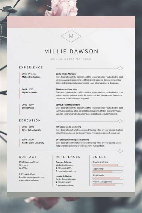 millie resumecv template word photoshop indesign
