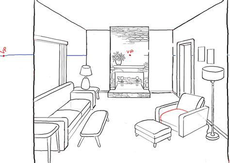 wohnzimmer zeichnung how to draw a room with perspective drawing tutorial of a