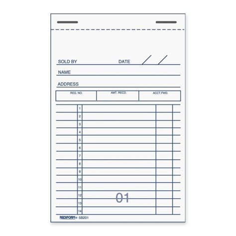 receipt pad template rediform sales receipt book quickship
