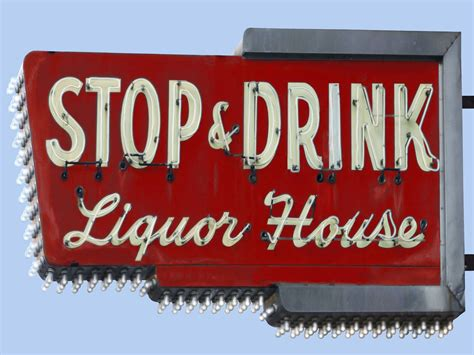 liquor signs stop and drink liquor house vintage neon sign
