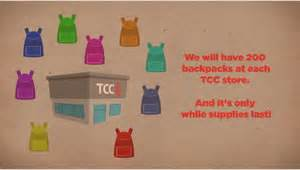 Tcc Backpack Giveaway - reminder free backpack with school supplies at tcc stores today i crave freebies
