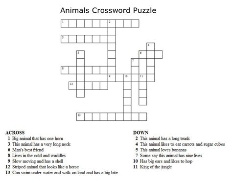 Printable Puzzles Of Animals | kids crossword puzzles print your animals crossword