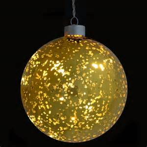13cm light up hanging gold plated glass ball bauble