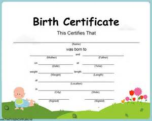 printable birth certificate templates birth certificate templates free printable