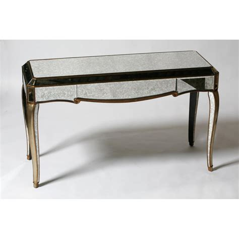 mirrored console table venetian antiqued glass mirrored console table