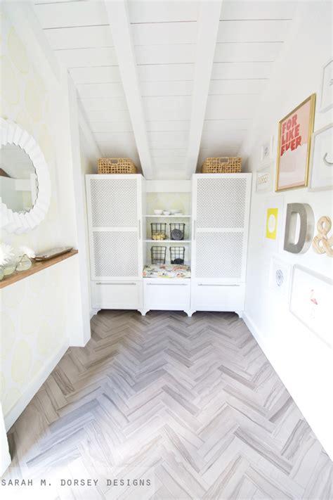 Vct Kitchen Floor - sarah m dorsey designs how to install herringbone marble tile