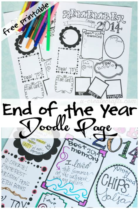 make a doodle free end of the year doodle page free printable