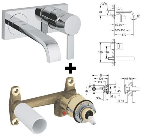 Grohe Thermostatic Bath Shower Mixer grohe allure concealed valve 19384 19384000 grohe