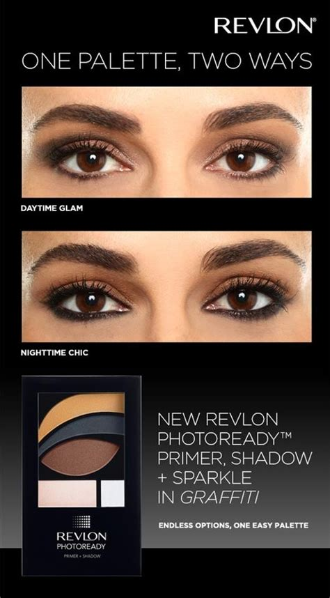 tutorial eyeshadow revlon day time glam and nighttime chic eye looks using the same