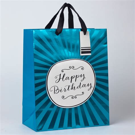 blue foil happy birthday large gift bag only 163 1 49