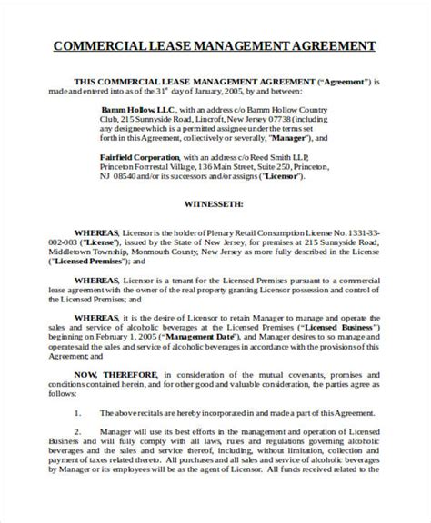 property management agreement template uk 43 commercial agreement exles and sles