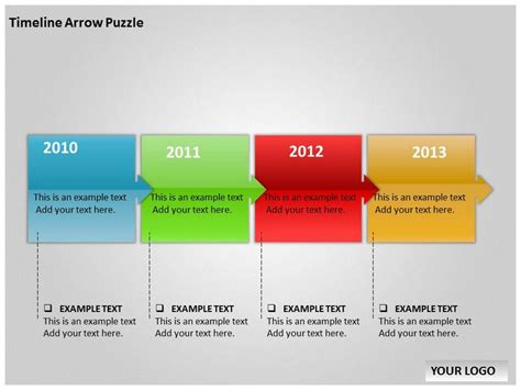 timeline template powerpoint free timeline arrow puzzle template for powerpoint timeline