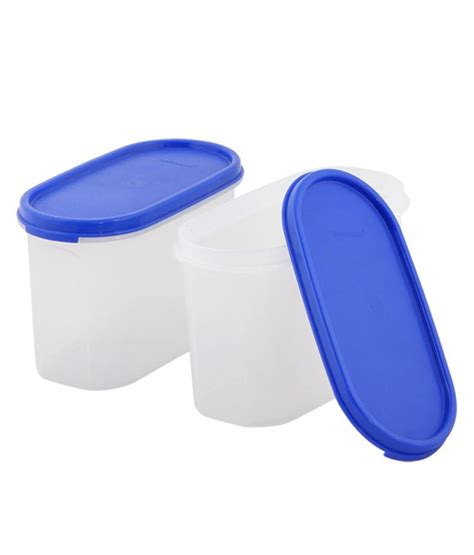 Tupperware Oval tupperware blue plastic oval shape container pack of 4 buy at best price in